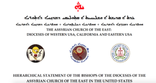 HIERARCHICAL STATEMENT OF THE BISHOPS OF THE DIOCESES OF THE ASSYRIAN CHURCH OF THE EAST IN THE UNITED STATES